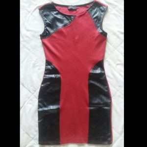 Body Central red faux leather bodycon dress